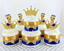 royal prince baby shower decorations royal blue and gold prince cake centerpiece set boy