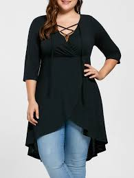 plus size lace up high low hem top in black 5xl sammydress com