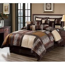 Ducks Unlimited Bedding 7 Piece Leopard Patchwork Faux Fur Microfiber Comforter Set