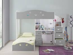 lit superpose bureau lit superposé avec rangements et bureau 90x190cm combal gris blanc