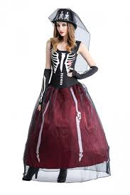 Womens Skeleton Halloween Costume Womens Skeleton Printed Maxi Halloween Zombie Bride Costumer Ruby