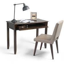 simpli home burlington espresso brown desk with keyboard tray