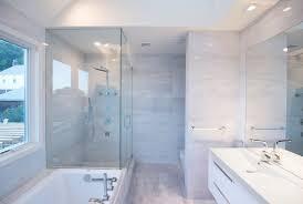 Shower Head In Ceiling by Modern Master Bathroom With Granite Wall Slab Tile U0026 Flush Light