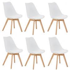 chaise cuir blanc lot de 6 chaises de salle à manger scandinave simili cuir blanc
