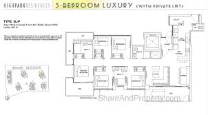 high park residences floor plan 5 bedroom luxury condo singapore