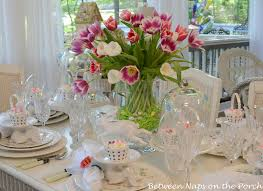 Easter Decorations In Australia by Easter Table Spring Setting With Tulip Centerpiece And Pottery