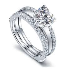 two engagement ring aliexpress buy 1ct shape 925 sterling silver ring set