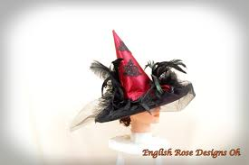 Red Witch Halloween Costume Red Witch Hat Red Black Hat Witch Decor Halloween
