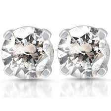 gold diamond stud earrings pompeii3 rakuten 1 3 ctw 14k white gold diamond stud earrings