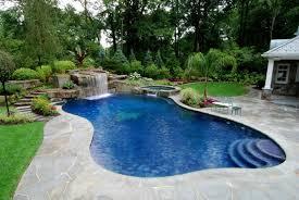Backyard Pool Designs by Swimming Pool Beautiful Backyard Pool With Outdoor Living Area