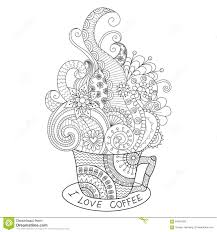 a cup of coffee zentangle design for coloring book for