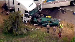 fatal lamborghini crash 2 killed 6 hurt when big rig careens out of control on freeway