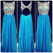 2017 backless prom dresses cute rhinestones open back sparkly blue