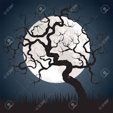 halloween scary picture halloween spooky scary background with full moon and gnarled