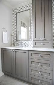 Bathroom Storage Chrome Bathroom With Lattice Tile Gray Vanity Knobs White