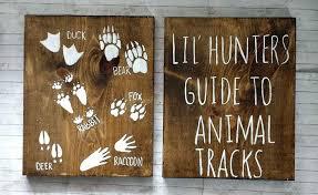 Deer Nursery Decor Lil Hunters Guide To Animal Tracks Rustic Wood Set