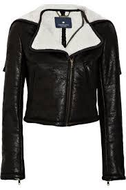 winter biker jacket gryphon faux shearling biker jacket in black lyst