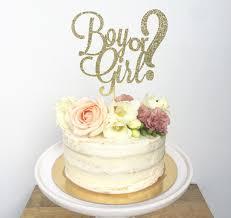 gender reveal cake topper boy or girl cake topper baby shower glitter cake topper gender