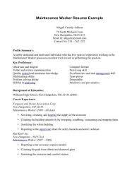 building maintenance worker resume maintenance worker resume