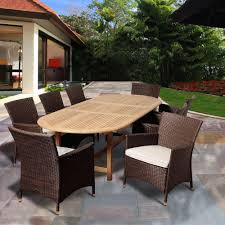 amazonia powell 9 piece teak extendable oval patio dining set with