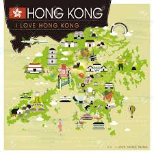 map with attractions hong kong travel map with attractions in flat design royalty free