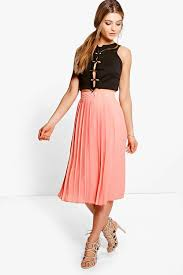 midi skirt aura chiffon pleated midi skirt boohoo