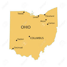 ohio map of cities yellow map of ohio with indication of largest cities royalty free