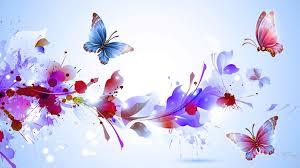 flowers purple splash butterflies floral lavender soft blue