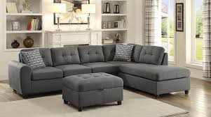 stonenesse grey linen fabric pocket coil seat sectional w ottoman