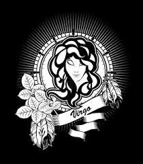 zodiac sign virgo logo icon sketch style tattoo woman with
