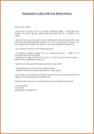 resignation letter sample one month notice for lease