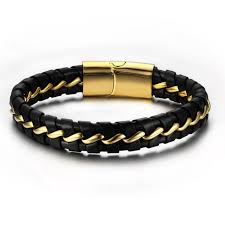 bracelet gold leather man images Fashion stainless steel gold color knitted magnetic clasp bracelet jpg