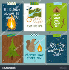 Adventure Time Invitation Card Vector Set Camping Cards Beautiful Hand Stock Vector 461062069
