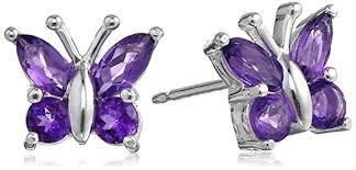 purple earrings sterling silver 88 cttw purple amethyst butterfly