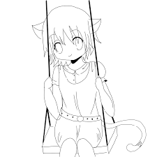 cute anime cat coloring pages neko lineart by watereye on