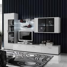 Wohnzimmerschrank Richtig Dekorieren Hochglanz Wohnwand In Weiß Schwarz Beleuchtung 4 Teilig