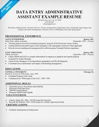 Legal Administrative Assistant Resume Sample by Data Entry Administrative Assistant Resume Example