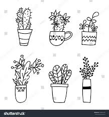cute hand drawn houseplants succulents pots stock vector 364321295