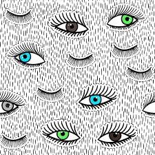 eye pattern clothes hand drawn fashion patches eyes eyelash seamless pattern vector
