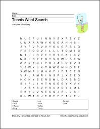 tennis wordsearch crossword puzzle and more