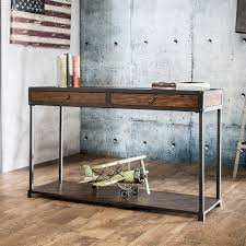 Overstock Sofa Tables Furniture Of America Thorne Antique Oak Industrial Sofa Table
