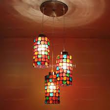 Lights For Bedroom 3 Light Colorful Glass Blown Pendant Lights For Bedroom