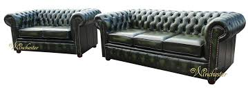 Chesterfield Sofa Suite Chesterfield 3 2 Leather Sofa Suite Offer Antique Green
