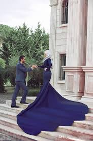 Tumblr Sexy Bride - 2017 royal blue mermaid muslim wedding dresses long sleeve lace