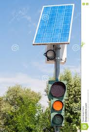Solar Traffic Light - road traffic light and solar panel stock photo image 76285899