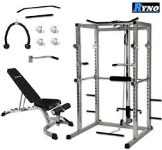 ryno power rack squat cage weight bench combo package machine