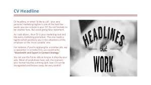 Meaning Of Resume Headline How To Write A Cv