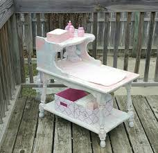 Dolls Changing Table Side Table Made Into Distressed Light Pink Blue And White