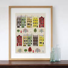 london row houses art print by natalie singh notonthehighstreet com
