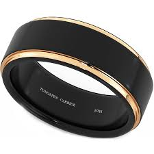 mens tungsten rings images Men 39 s black tungsten ring with rose gold jpg
